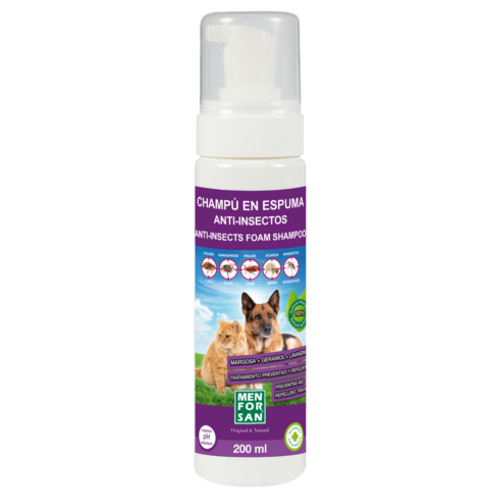 Champú para perros en espuma anti insectos