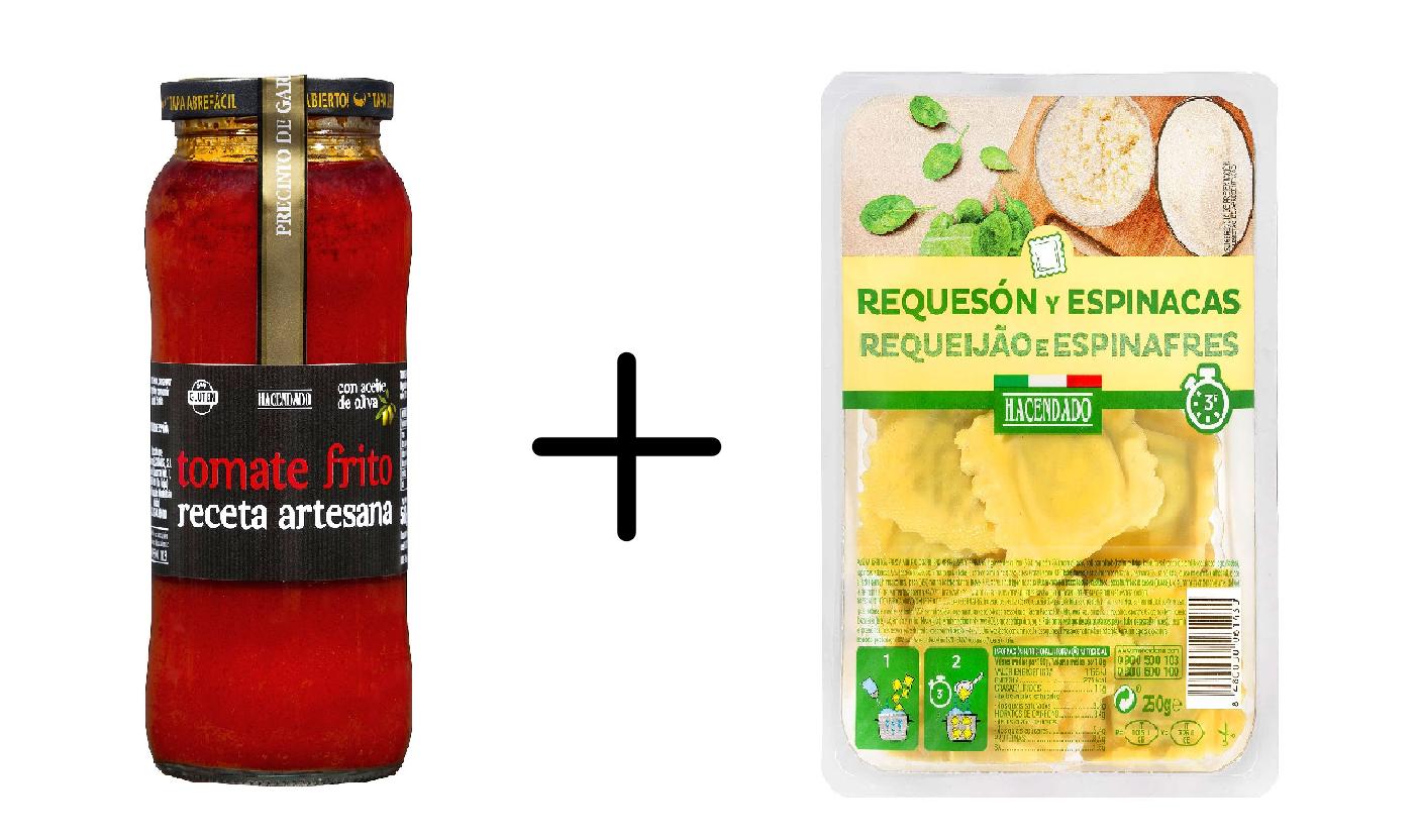ideas de comidas rápidas: pasta rellena y tomate artesano